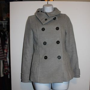 H&M BUTTON UP GRAY PEA COAT LIKE NEW